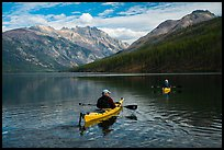 Two kayakers on Kintla Lake. Glacier National Park ( color)