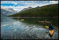 Four kayakers on Kintla Lake. Glacier National Park ( color)