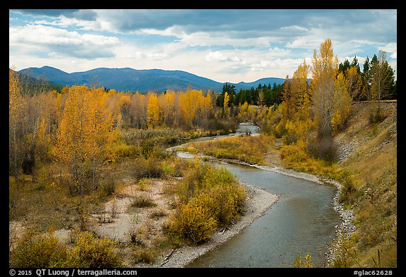 North Fork of Flathead River in autumn. Glacier National Park, Montana, USA.