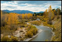 North Fork of Flathead River in autumn. Glacier National Park ( color)