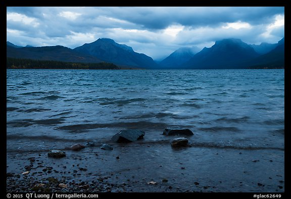 Waves and clouds, Lake McDonald. Glacier National Park (color)