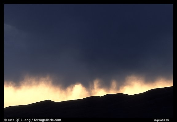 Storm clouds over the Sangre de Christo mountains. Great Sand Dunes National Park and Preserve (color)