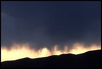 Storm clouds over the Sangre de Christo mountains. Great Sand Dunes National Park and Preserve, Colorado, USA.