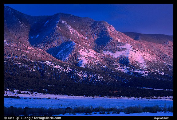 Sunset over mountains. Great Sand Dunes National Park and Preserve (color)
