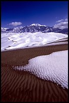 Sand dunes with snow patches. Great Sand Dunes National Park and Preserve, Colorado, USA.