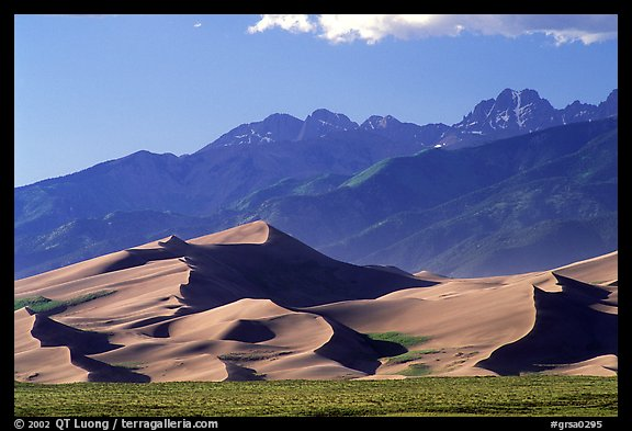 Distant view of Dunes and Crestone Peaks in late afternoon. Great Sand Dunes National Park and Preserve (color)