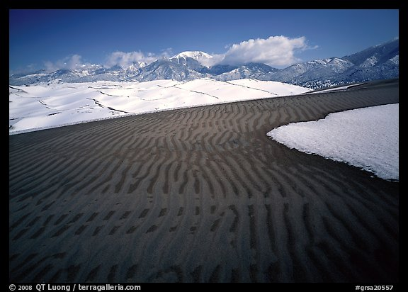 Ripples in partly snow-covered sand dunes. Great Sand Dunes National Park (color)