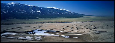Dune field in winter. Great Sand Dunes National Park (Panoramic color)
