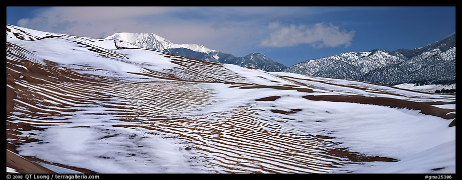 Melting snow on sand dunes. Great Sand Dunes National Park and Preserve (color)