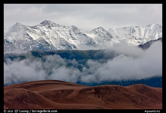 Snowy Sangre de Cristo Mountains and clouds above dune field. Great Sand Dunes National Park and Preserve (color)
