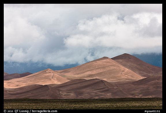 Tall dunes and low clouds. Great Sand Dunes National Park and Preserve (color)