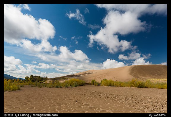Dried Medano Creek and sand dunes in autumn. Great Sand Dunes National Park and Preserve (color)