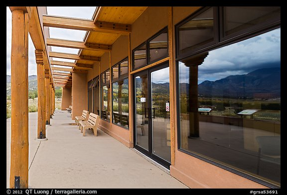 Visitor center and reflections in large windows. Great Sand Dunes National Park and Preserve, Colorado, USA.