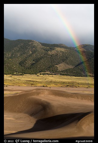 Rainbow over dune field. Great Sand Dunes National Park and Preserve (color)