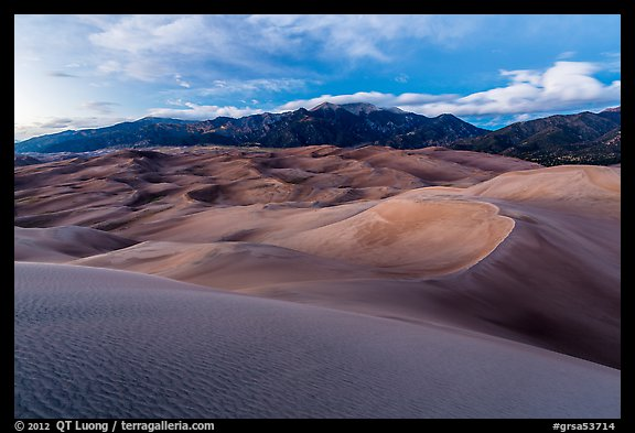 Dunes and Sangre de Cristo mountains at dusk. Great Sand Dunes National Park and Preserve (color)