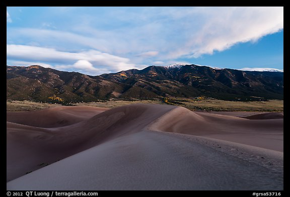 Dunes and Mount Zwischen at dusk. Great Sand Dunes National Park and Preserve (color)