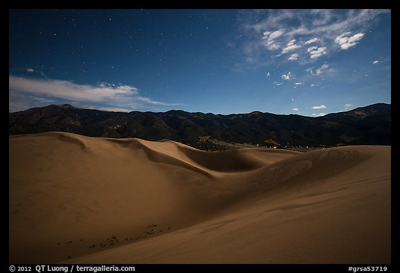 Dunes and mountains at night. Great Sand Dunes National Park and Preserve (color)