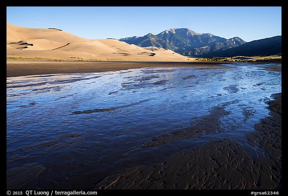 Medano Creek, dunefield, and mountains in autumn. Great Sand Dunes National Park and Preserve (color)