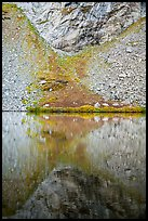 Talus and reflection, Lower Sand Creek Lake. Great Sand Dunes National Park and Preserve ( color)