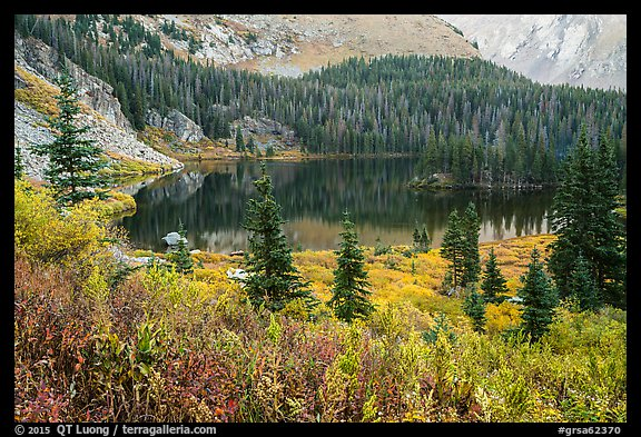 Autumn vegetation and alpine lake, Lower Sand Creek Lake. Great Sand Dunes National Park and Preserve (color)