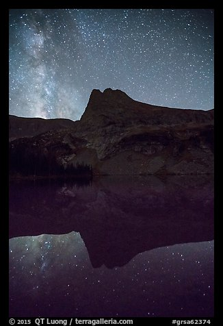 Milky Way, Tijeras Peak reflected in Lower Sand Creek Lake. Great Sand Dunes National Park and Preserve (color)