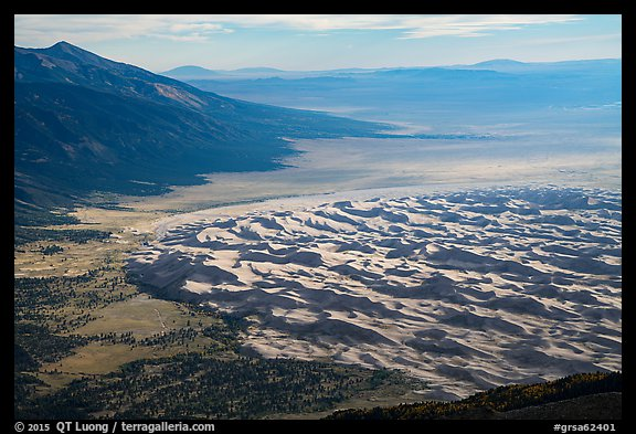 Sangre de Cristo Mountains and dune field from above. Great Sand Dunes National Park and Preserve (color)