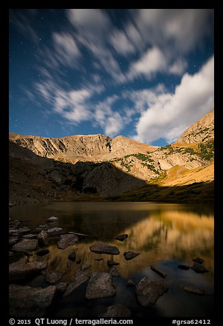 Mount Herard by moonlight above Medano Lake. Great Sand Dunes National Park and Preserve (color)