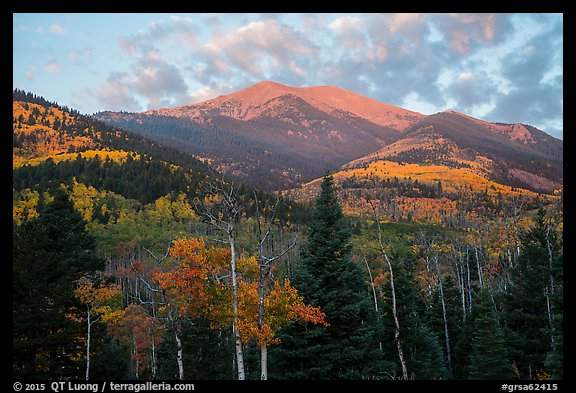 Mount Herard and autumn foliage at sunrise from Medano Pass. Great Sand Dunes National Park and Preserve (color)