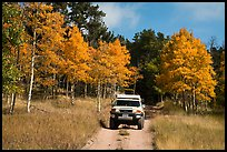 4WD vehicle on Medano primitive road in autumn. Great Sand Dunes National Park and Preserve ( color)