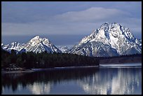 Mt Moran in early winter, reflected in Oxbow bend. Grand Teton National Park ( color)