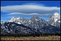 Lenticular cloud above the Grand Teton. Grand Teton National Park, Wyoming, USA. (color)