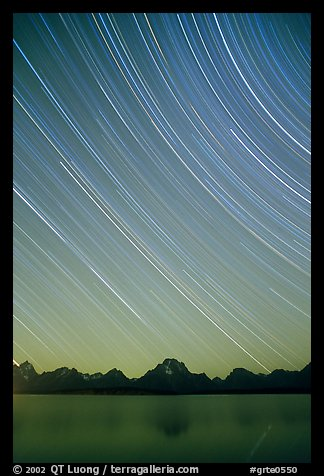 Star trails on Teton range above Jackson lake, dusk. Grand Teton National Park (color)
