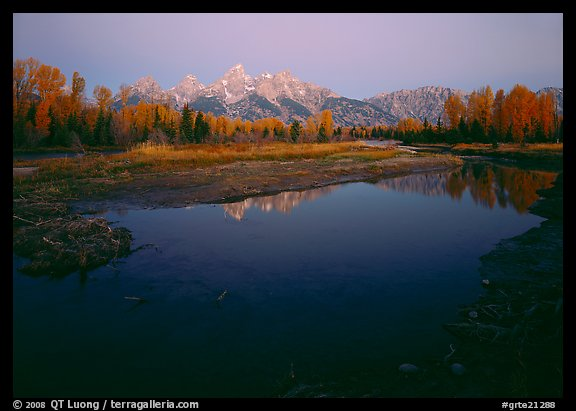 Teton range reflected in water at Schwabacher Landing, sunrise. Grand Teton National Park (color)