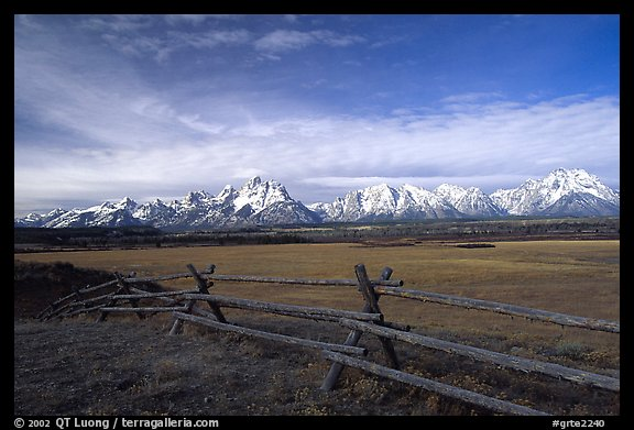 Fence, meadow, and Teton Range. Grand Teton National Park (color)