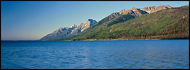 Lake and mountain range. Grand Teton National Park (Panoramic color)