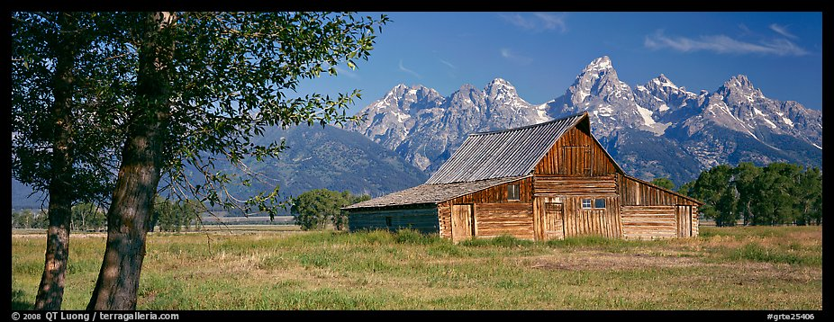 Rustic barn and Grand Teton range. Grand Teton National Park (color)
