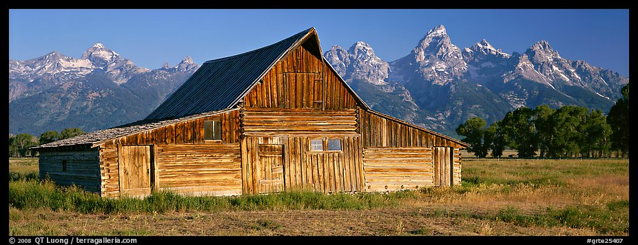 Wooden barn and mountain range. Grand Teton National Park (color)