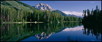 Mountain landscape with Lake reflection. Grand Teton National Park (Panoramic color)