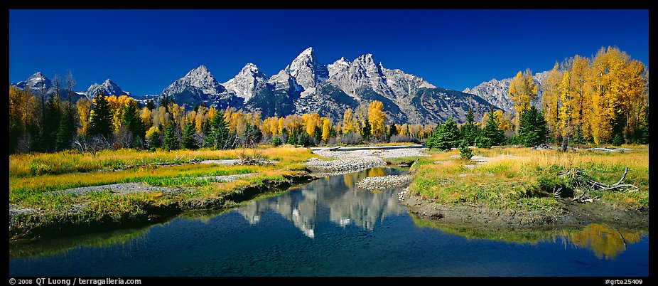Mountains and fall colors reflected in pond, Schwabacher Landing. Grand Teton National Park (color)