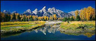 Mountains and fall colors reflected in pond, Schwabacher Landing. Grand Teton National Park (Panoramic color)