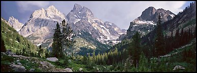 Mountain scenery with dramatic peaks. Grand Teton National Park (Panoramic color)