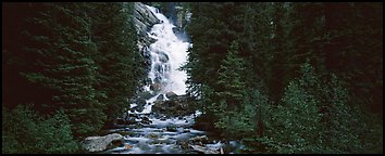 Waterfall flowing in dark forest. Grand Teton National Park (Panoramic color)