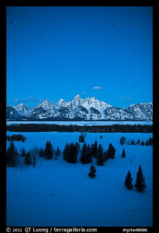Night view of Teton range in winter. Grand Teton National Park (color)