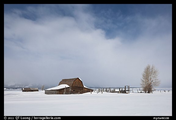 Moulton Barn in winter. Grand Teton National Park (color)