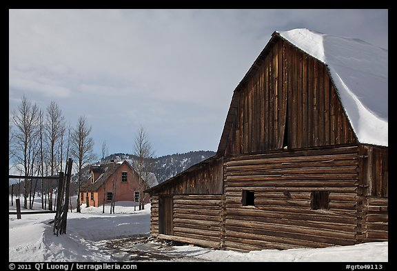 Moulton barn and house in winter. Grand Teton National Park (color)