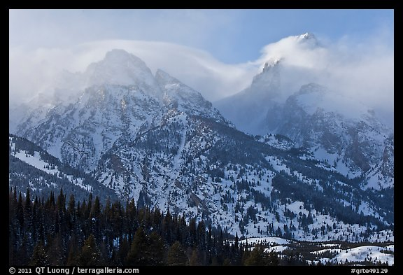 South Teton and Grand Teton in winter. Grand Teton National Park (color)