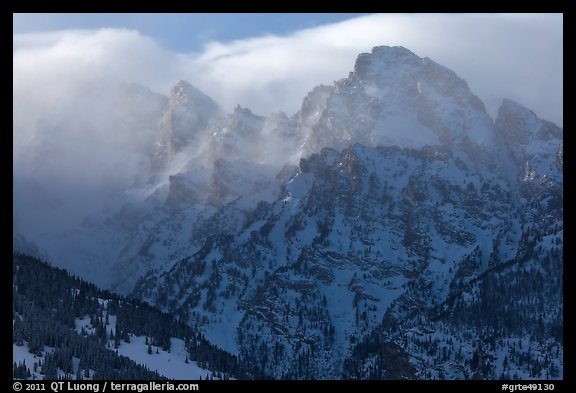 Cloud-capped Teton range, winter afternoon. Grand Teton National Park (color)