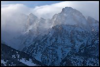 Cloud-capped Teton range, winter afternoon. Grand Teton National Park ( color)