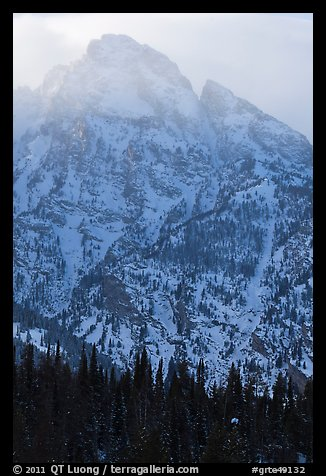 Towering mountain in winter. Grand Teton National Park (color)
