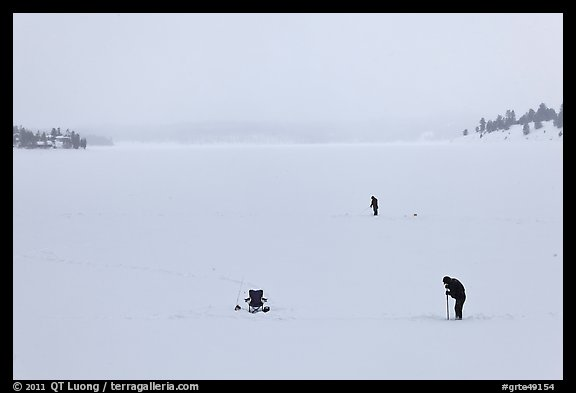 Jackson Lake in winter with ice fishermen. Grand Teton National Park (color)